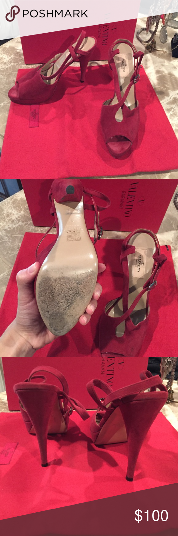 Valentino red suede heels Valentino red suede peep toe heels. Worn handful of times so they have your normal wear and tear. Comes with original dust bag and box. Size 38 (8). Bought for $695. Selling for $100 Valentino Shoes Heels