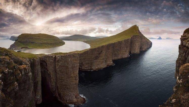 Nature Photography Landscape Cliff Sea Mountains Island Clouds Sunset Faroe Islands Hd Wal Landscape Photography Nature Island Wallpaper Faroe Islands