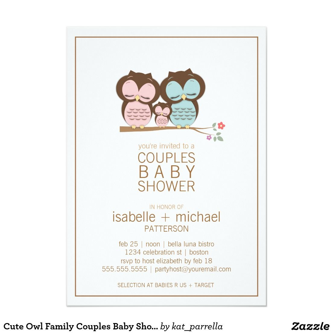 Cute Owl Family Couples Baby Shower Invitation | Couples baby ...