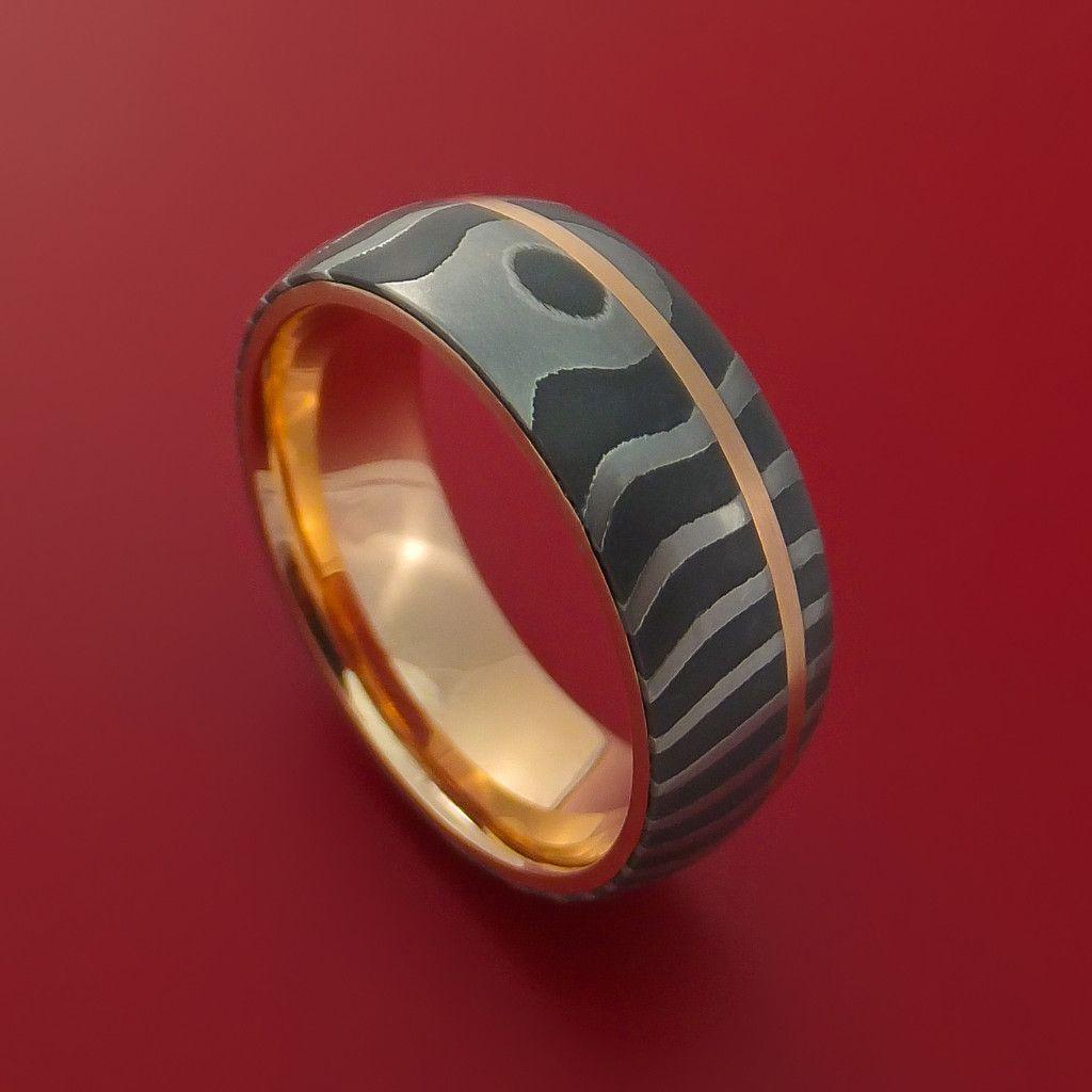 Damascus Steel Tiger Pattern 14k Rose Gold Ring Wedding Band Custom Made