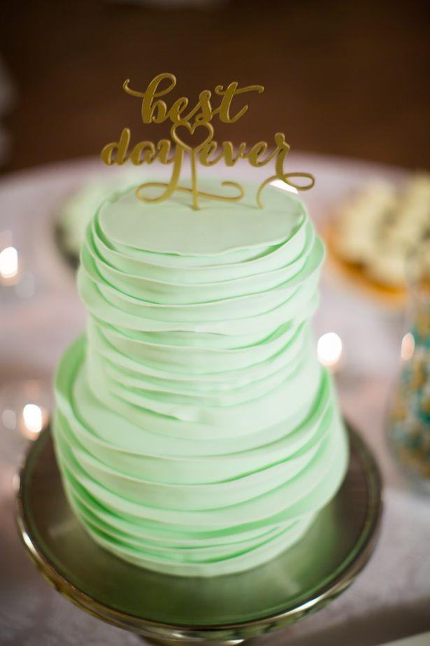 Mint and Gold #Wedding Cake- Caroline Ross Photography