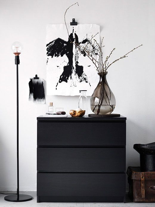 MALM Commode 3 tiroirs, brun noir New House Ideas Pinterest