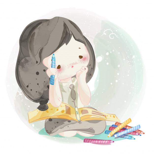 Dibujado A Mano Una Chica Encantadora