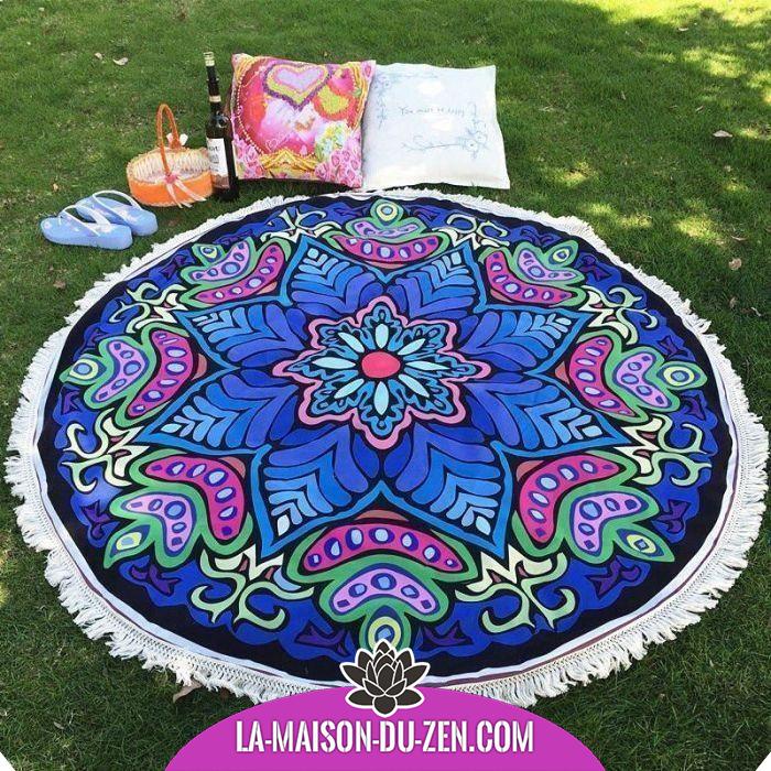 Magnifique Toile Mandala Fleur Tropicale Accessoires De Meditation