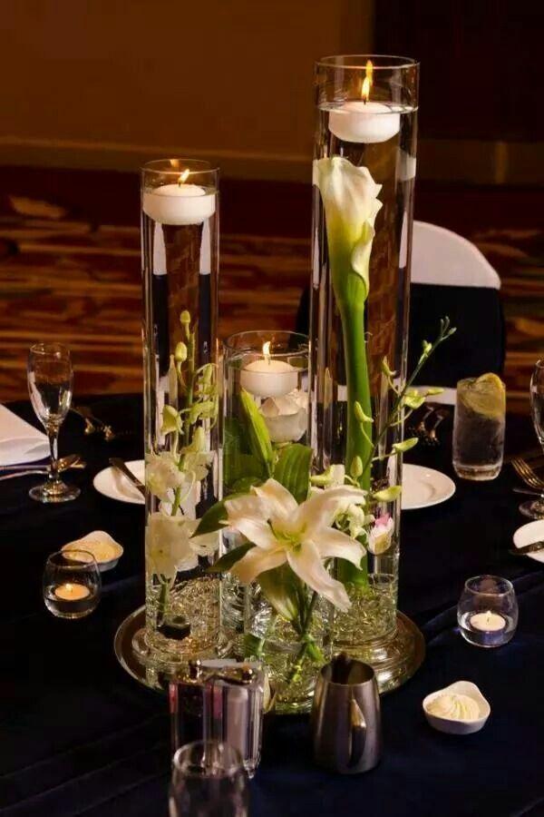 Floating candle centerpiece / velas flotantes