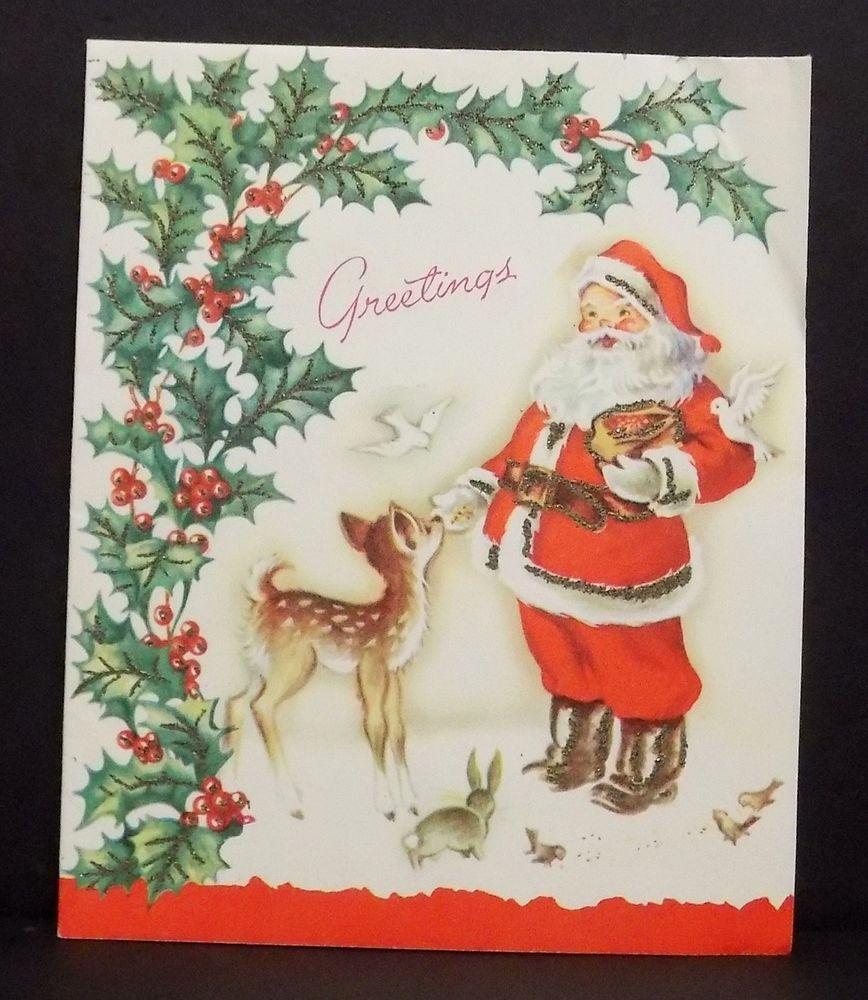 Vintage Christmas Card Greeting Santa Claus Feeding Reindeer Animals Glitter Collec Vintage Christmas Greeting Cards Vintage Christmas Cards Vintage Reindeer