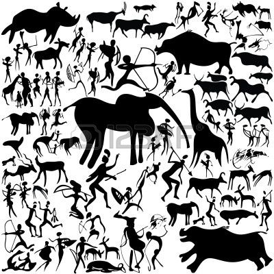 Cave Painting On A White Background Art Illustration Illustration Art Cave Paintings Illustration