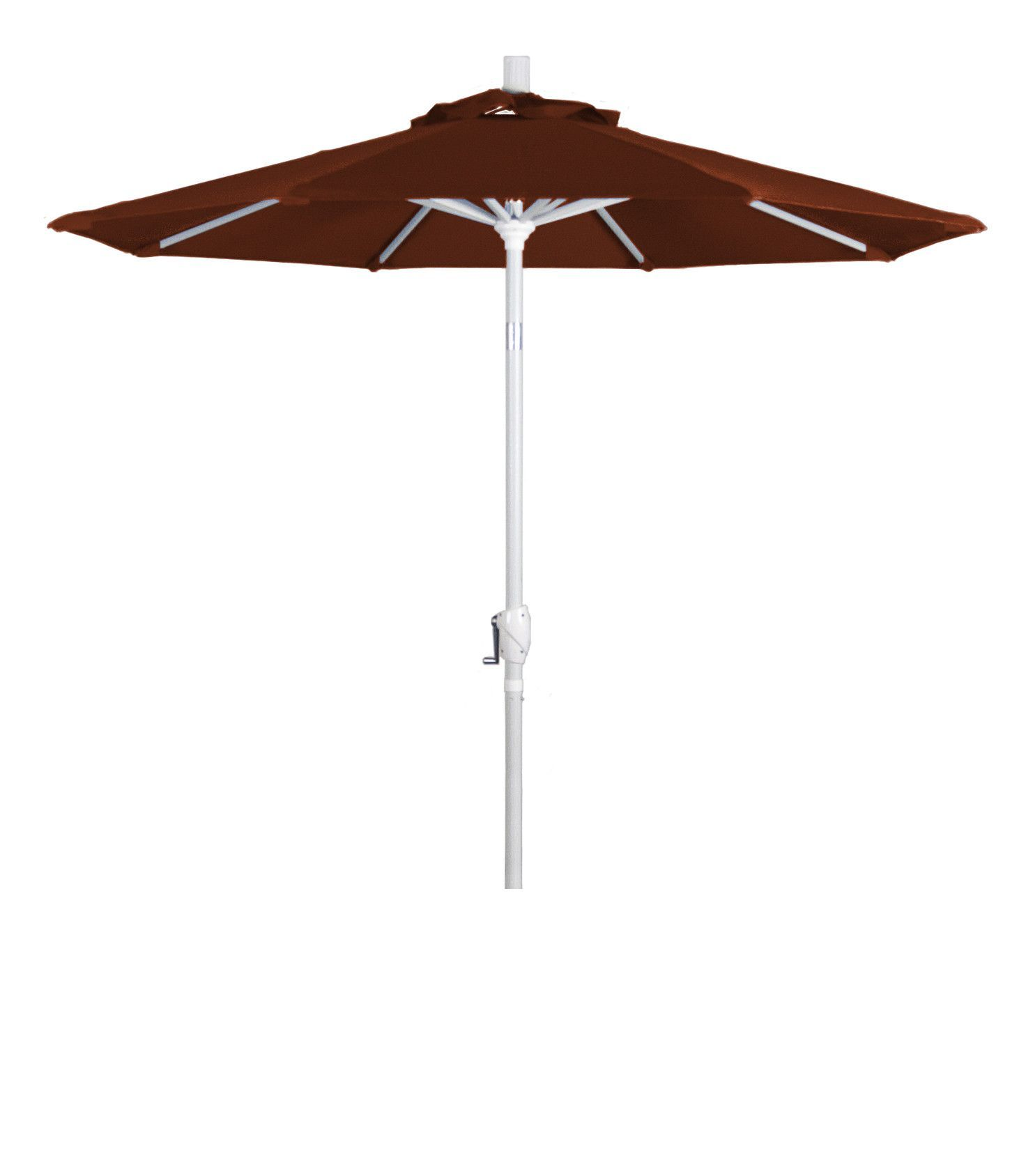 Eclipse Collection 7.5' Aluminum Market Umbrella Push Tilt Matte White/Pacifica/Brick