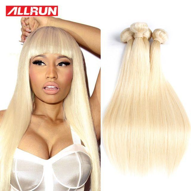 7a Quality Virgin Hair Straight 4 Bundles Blonde Brazilian Platinum