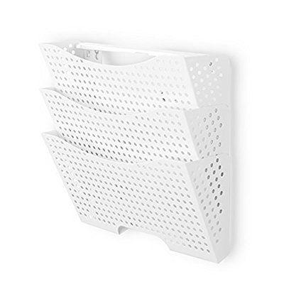 Amazon Com Wall File Holder Organizer Metal Modern Modular Design Metal 3 Storage Level Folders White Steel Dur Wall File Holder Wall File White Office Decor