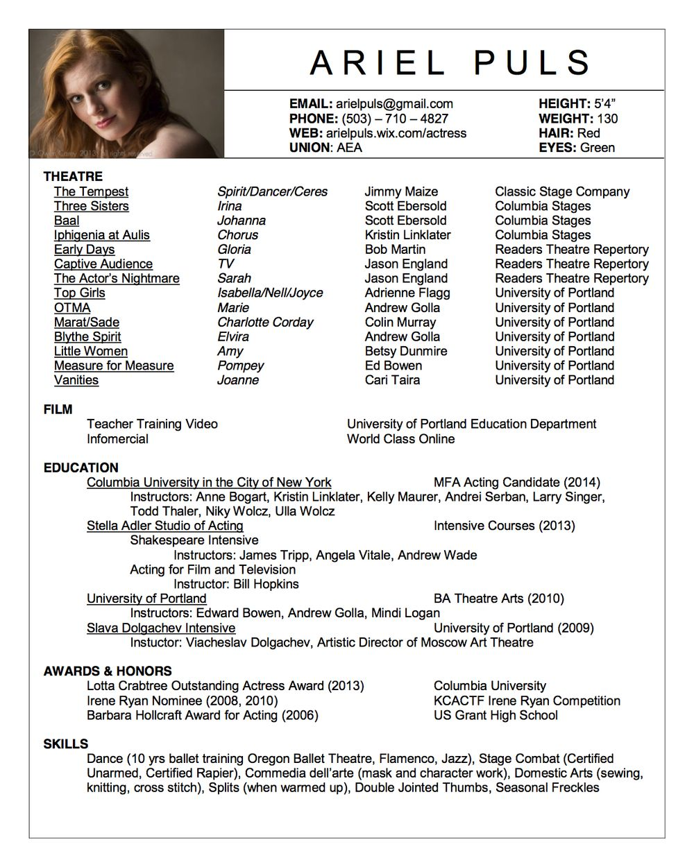 Acting Resume Example Acting Resume  Nathan Whitmer  Actor Aea  Acting Class Stuff