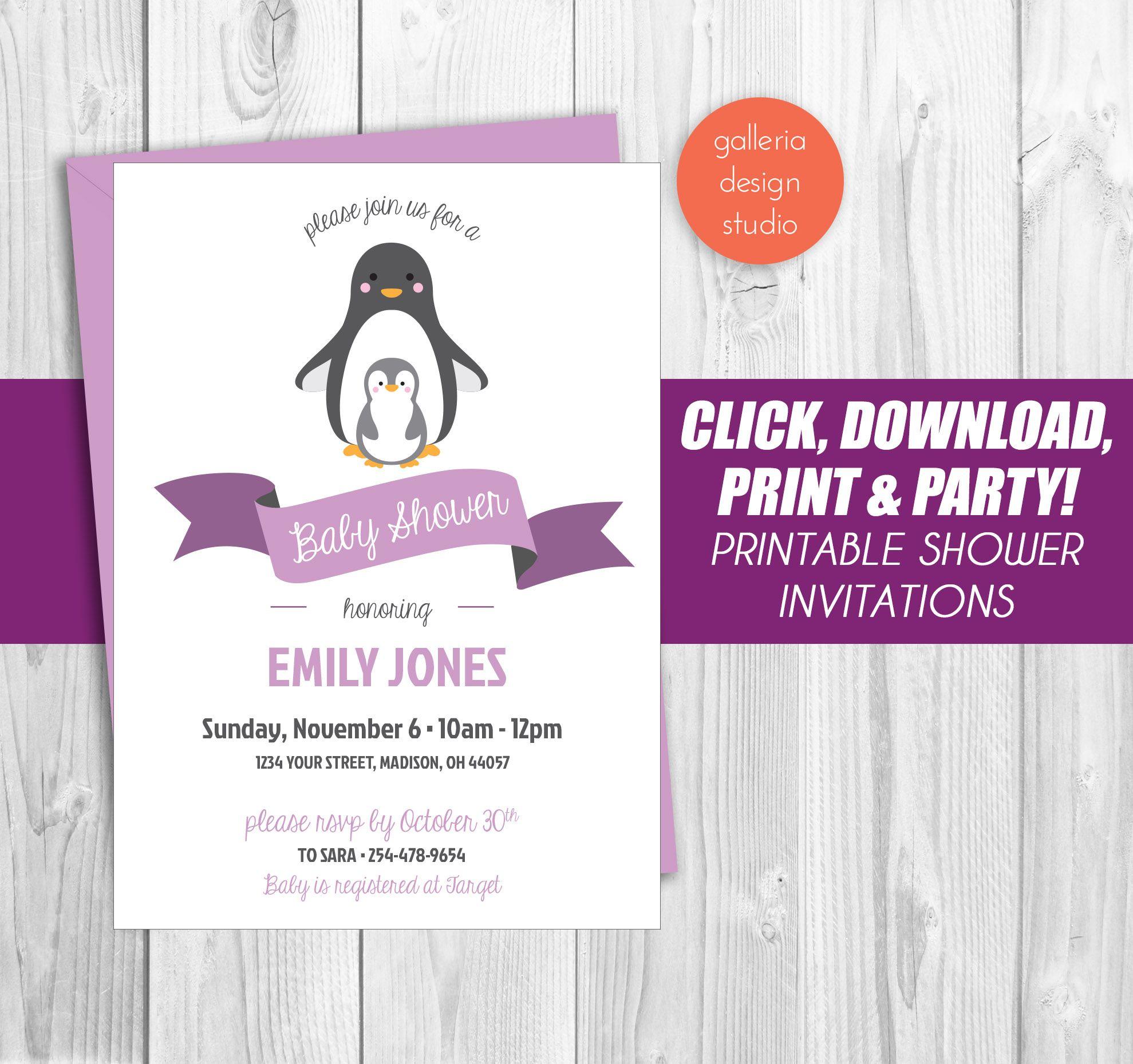 $10 - Purple Penguin Baby Shower Invitation - customizable and ...