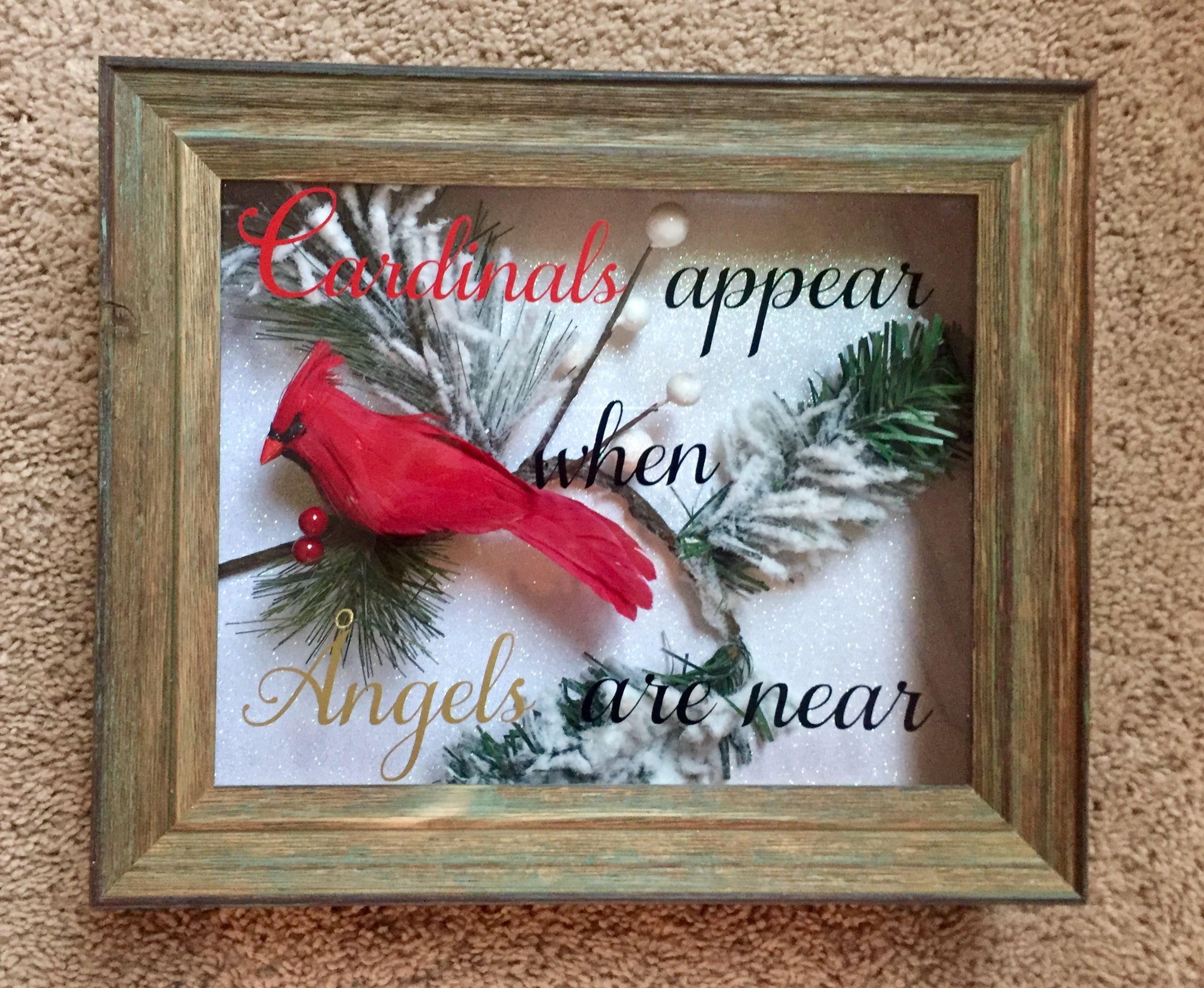 Shadowbox Cardinals Appear When Angels Are Near I Used Glitter Card Stock For The Background Christmas Shadow Boxes Diy Christmas Shadow Box Christmas Diy