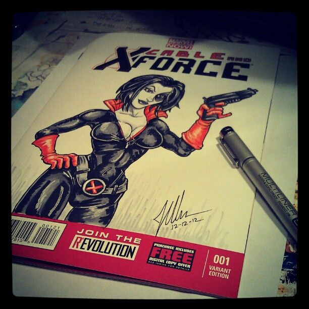 Cable and X-Force #1 Domino sketchcover variant by Joshua Werner