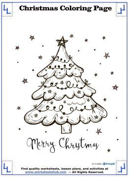 merry christmas christmas tree coloring page