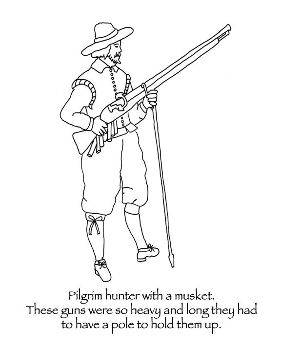 Thanksgiving Coloring Pages Pilgrim Hunter With Musket Food