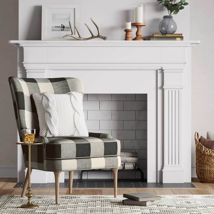 Cheswold Wingback Chair Check Black/White Threshold