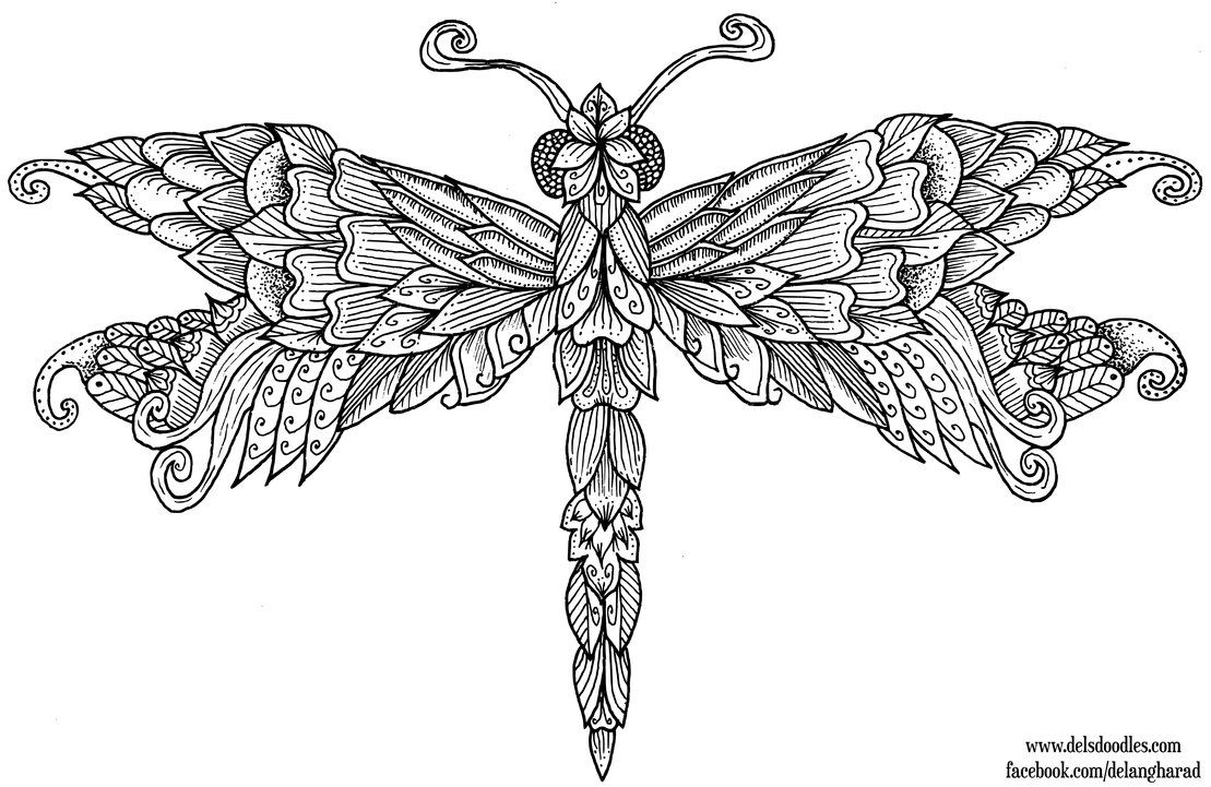 Dragonfly Colouring Page by WelshPixie | Adult Coloring Pages ...