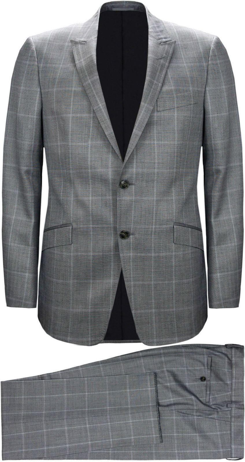 9992d07231 Details about Versace Men's Grey Plaid Two-Piece Wool Suit ...