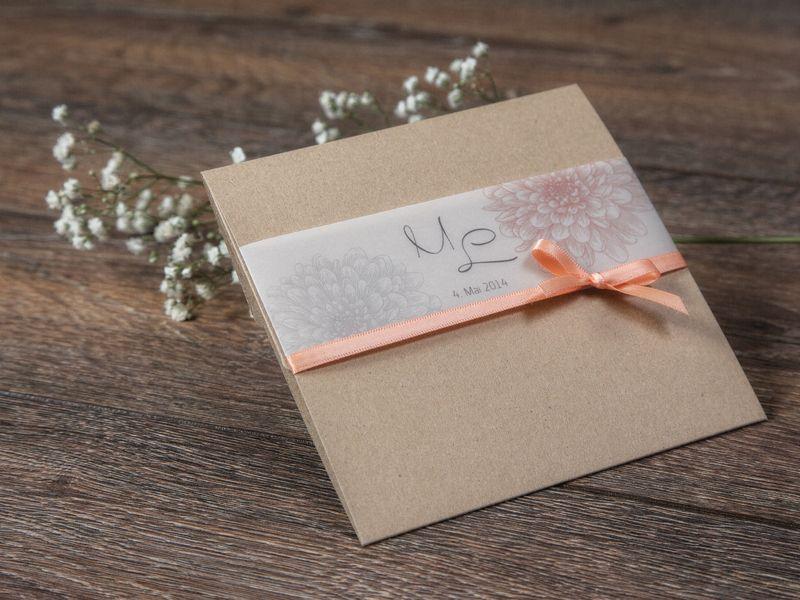 Pocket Karte Dalia Apricot Hochzeitskarte Von Formatreich