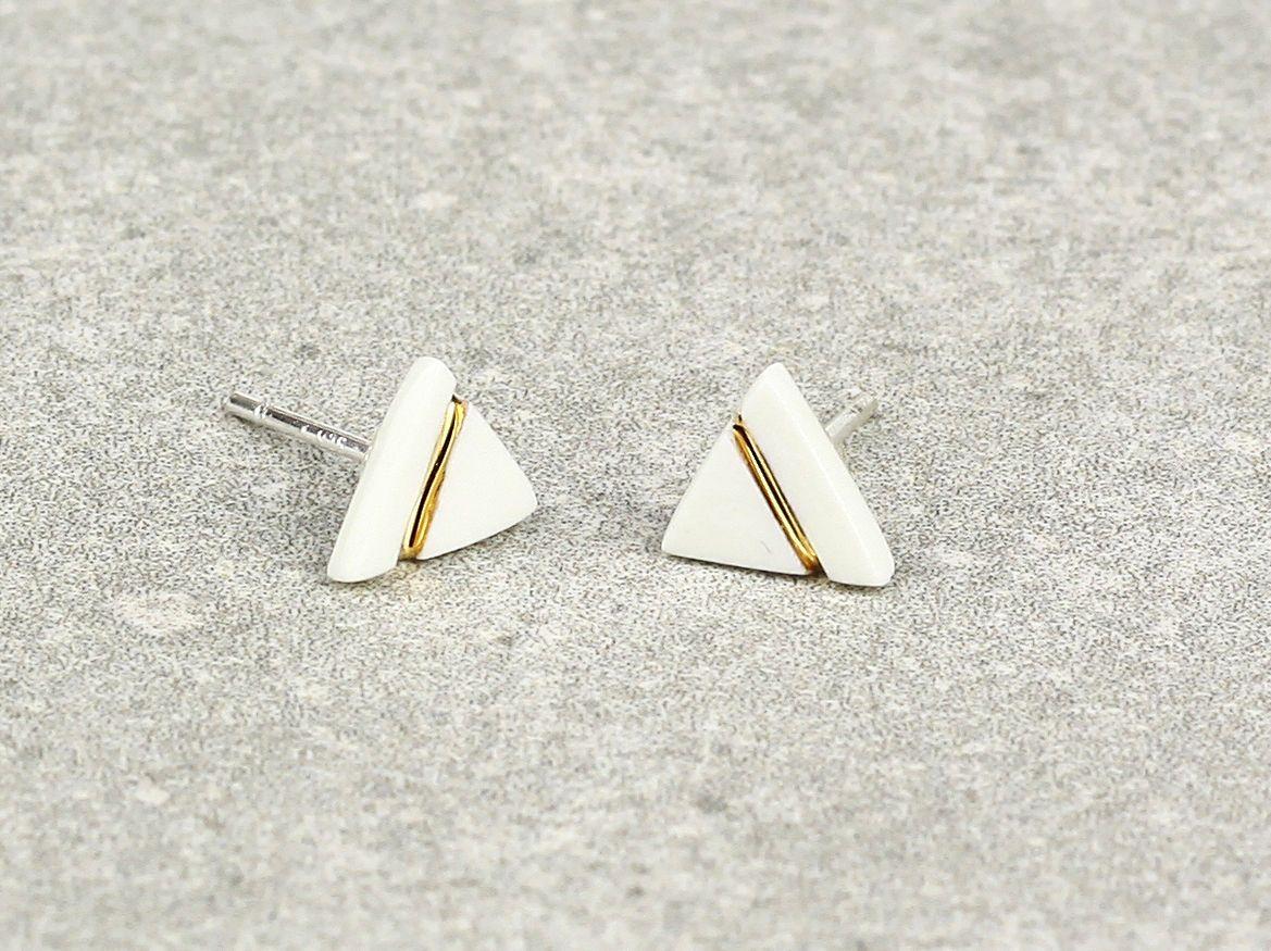 Minimalist Earrings Simple Studs White Porcelain Earrings Porcelain /& Gold Luster Studs