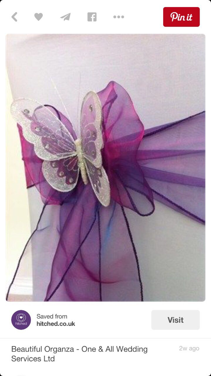 Great Chair Decor   Beautiful Organza With Butterflies