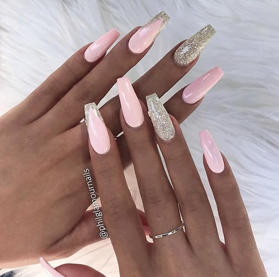 42 Coffin Acrylic Nail Ideas With Different Colors That You Ll Want To Copy Coffin Nails Long Trendy Nail Art Pink Nails