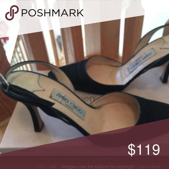 9ffdb2180f0 Jimmy Choo Pink Mauve Satin Slingback heels 39 vtg Beautiful condition