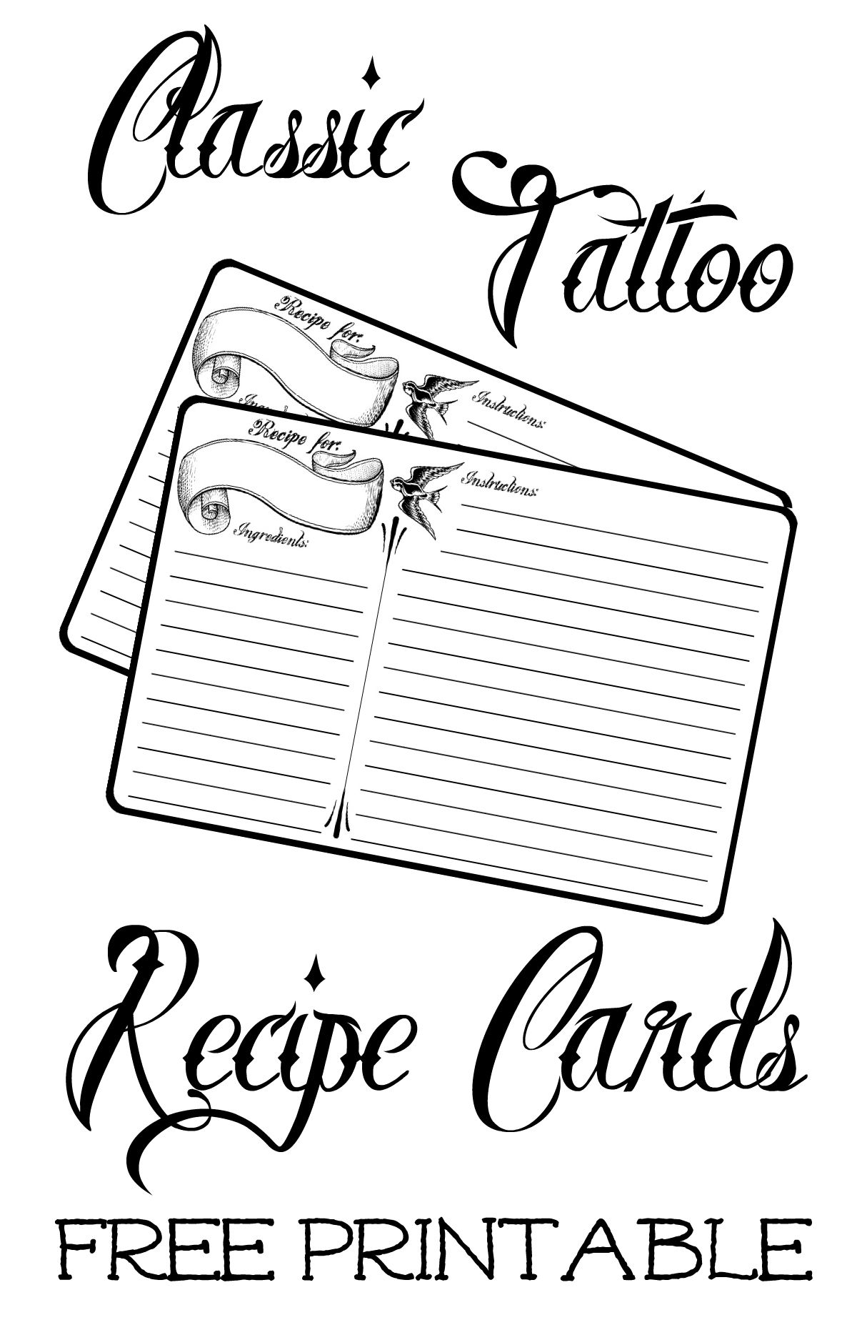 Free Printable Black And White 4x6 Inch Recipe Card With Classic Tattoo Style Script Recipe Cards Template Recipe Cards Printable Free Printable Recipe Cards