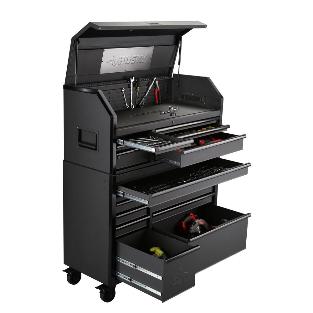 Husky Industrial 52 In W X 21 7 In D 15 Drawer Tool Chest And Rolling Cabinet Combo In Matte Black H52ch6tr9hd The Home Depot Tool Chest Tool Storage Tools