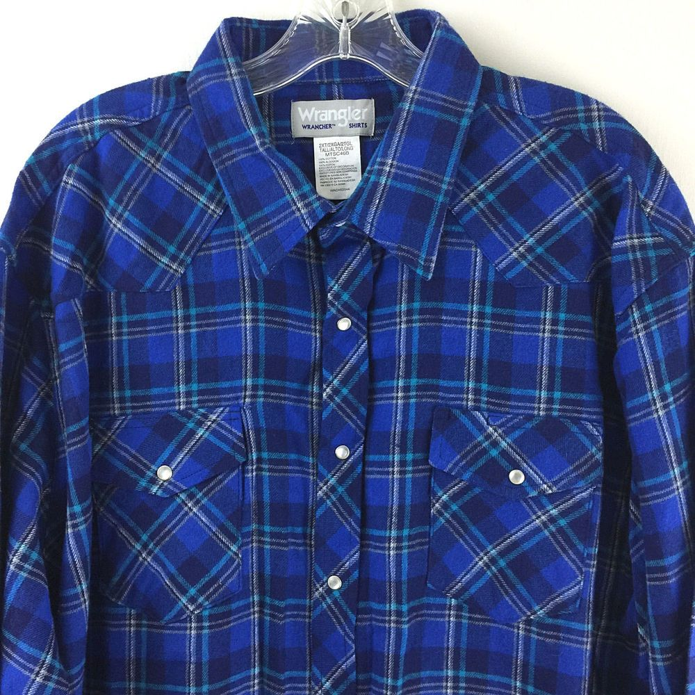 3ae08a2c Wrangler Mens Wrancher Shirt 2XT Tall Western Pearl Snap Long Slv Plaid  Flannel #Wrangler #Western