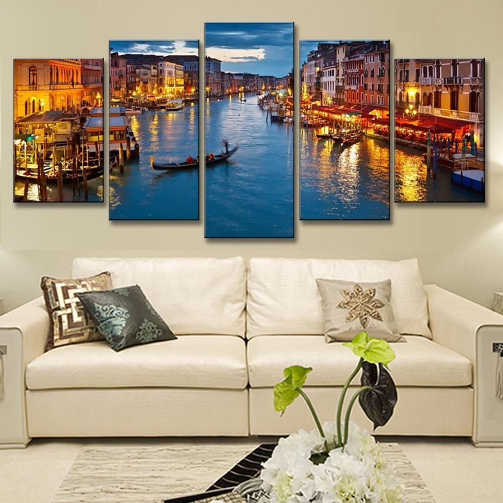 5 Pcs/Set Landscape Venice City Canvas Paintings Print On Canvas Classic  Buildings Scenery Wall