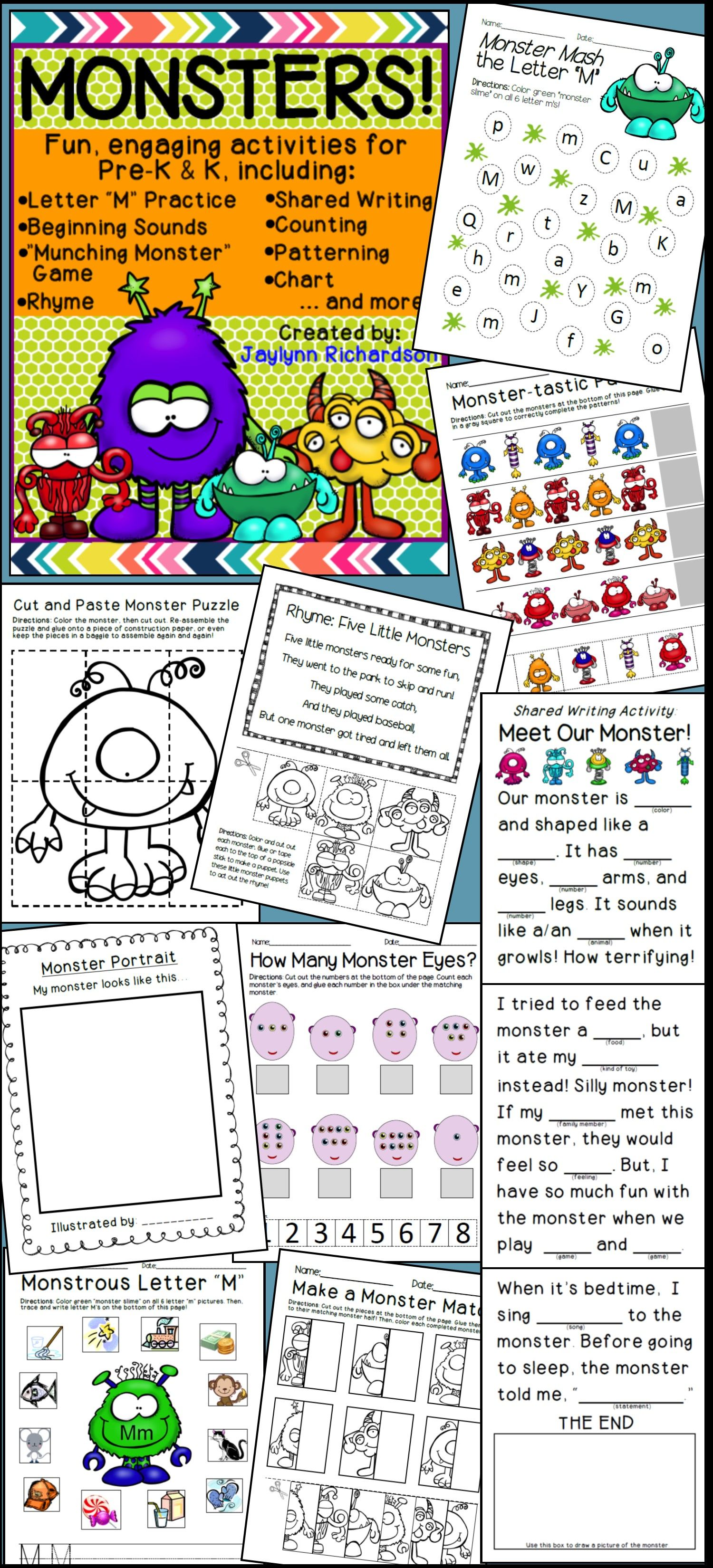 Monsters Fun Engaging Activities For Pre K Amp K
