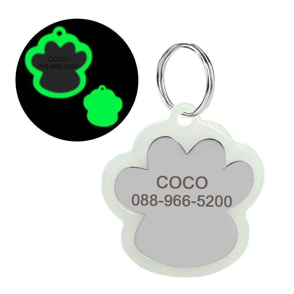 8a27f28b42fd Didog Custom Engraved Dog Cat ID Tags,Glow Dark Pet Tags,Paw Print ...