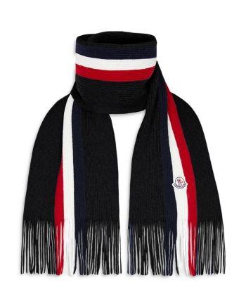 Photo of Moncler Stripe Logo Knit Scarf – Charcoal