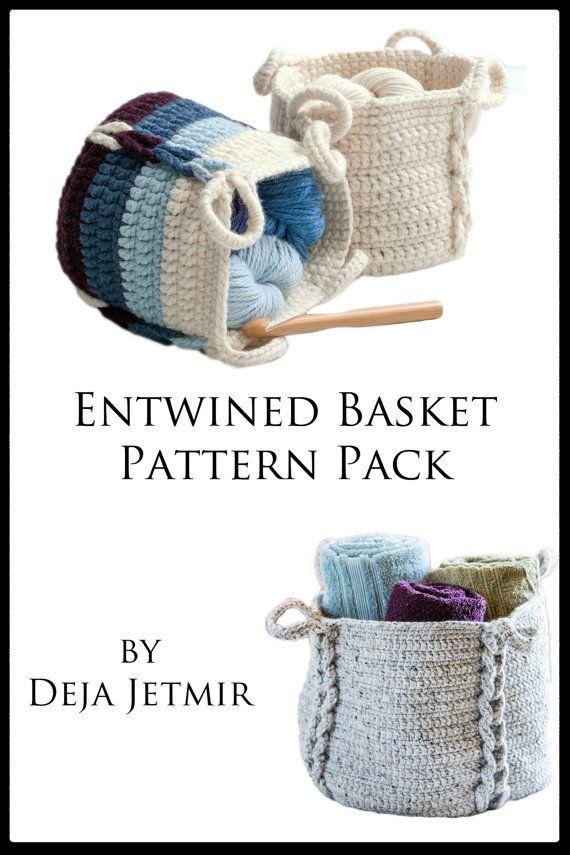 Crochet Pattern Entwined Basket Pattern Pack Crochet | Cestas ...