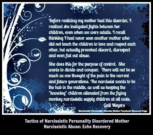 Narcissistic Mothers Divide and Conquer the Children quote by Gail