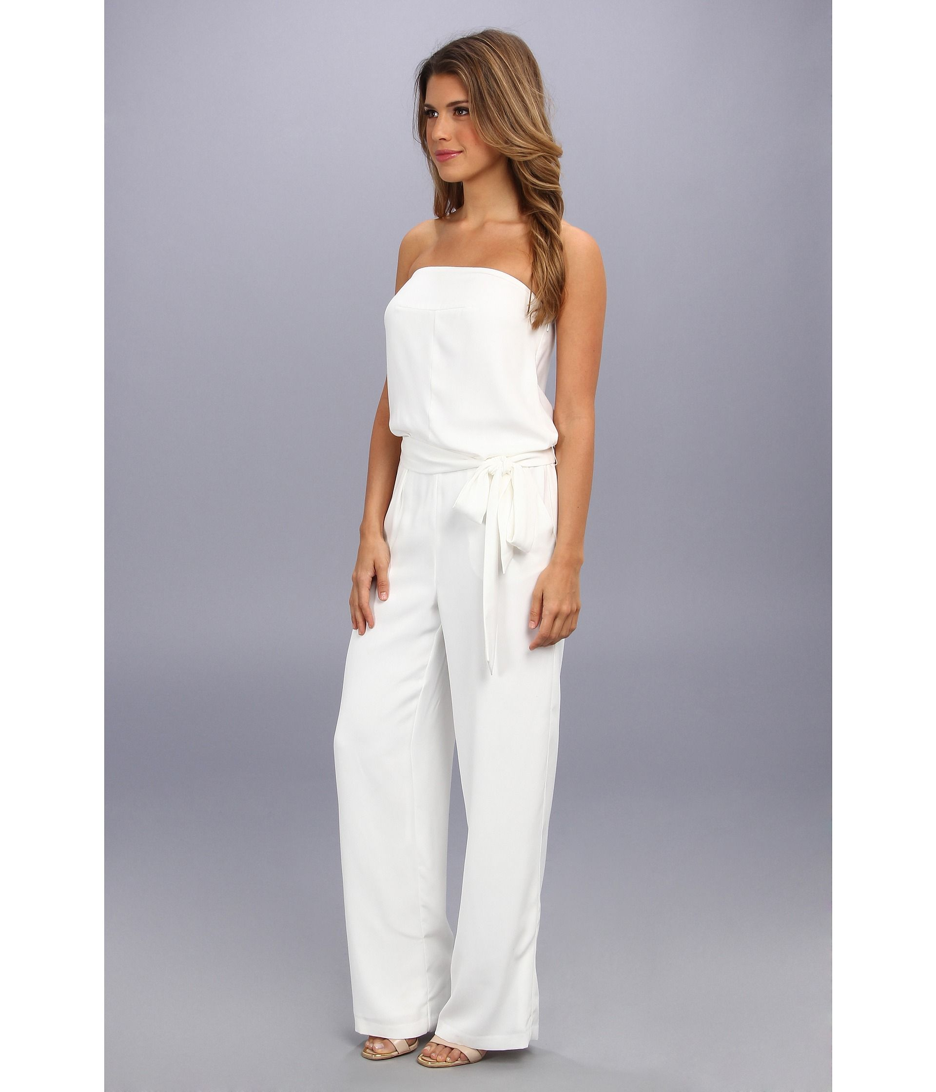 White Strapless Wide Leg Jumpsuit | Fascinating Strapless Jumpsuit ...