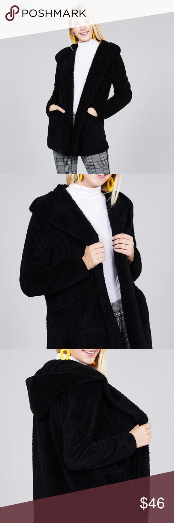 Black Open Front Faux Fur Hooded Jacket Super soft faux