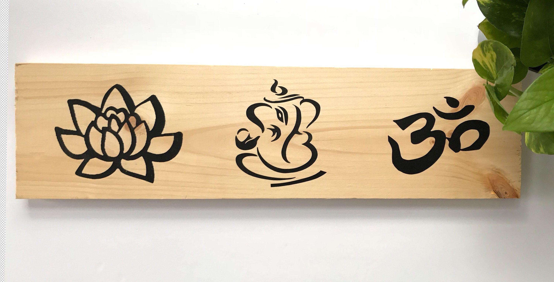 Om symbol Lotus Flower Wall Art Ganesha Ohm Symbol Namaste Symbol ...