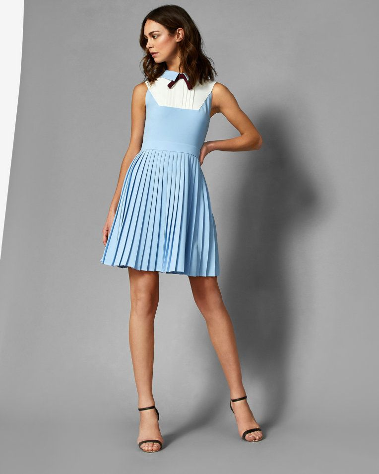 26a54b7d09503 Collared bib pleated dress - Baby Blue | Dresses | Ted Baker | Work ...