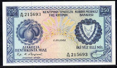 Cyprus 250 Mils banknote bill
