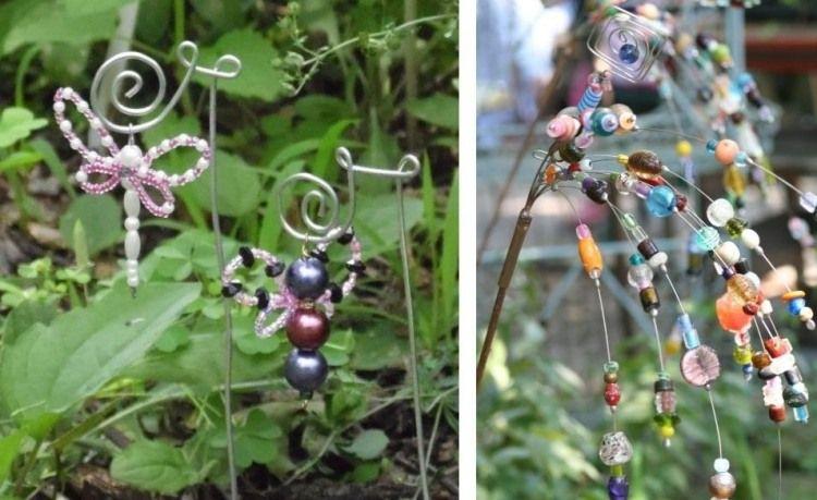 Gartendekorationen aus Perlen und Draht basteln Perlen - gartendeko selbst basteln