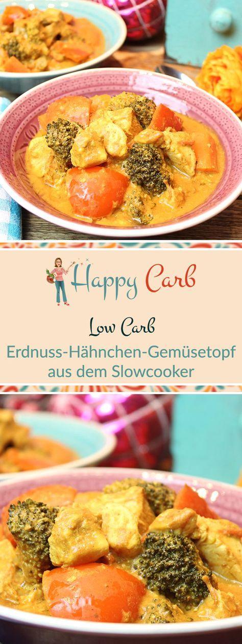Erdnuss-Hähnchen-Gemüsetopf aus dem Slowcooker - Happy Carb Rezepte #meatmarinade