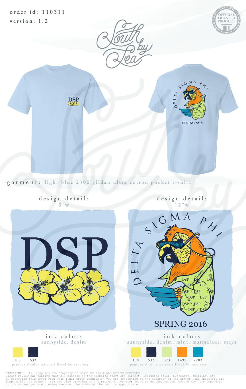 c30ced003f6 Delta Sigma Phi | DSP | Tropical T-Shirt Design | Fraternity Pocket Tee |  South…