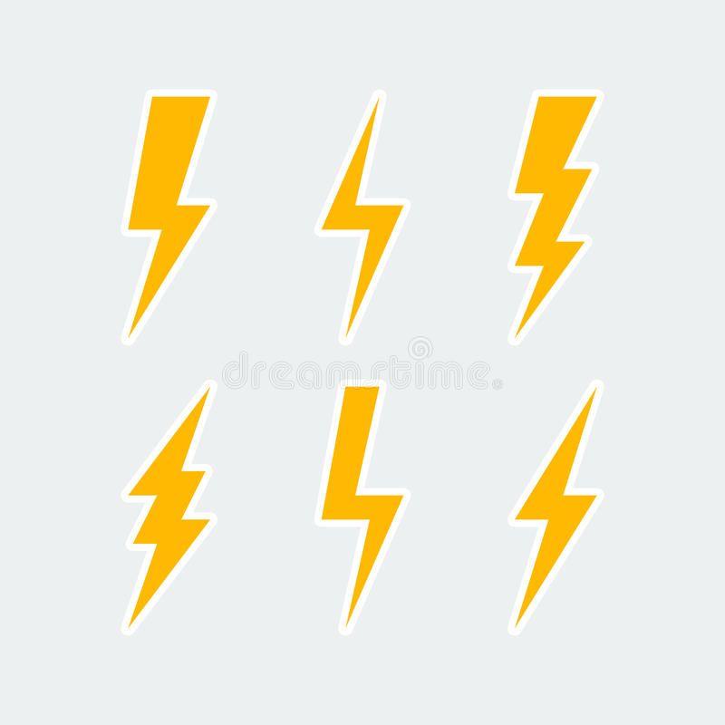 Lightning Bolt Icons Set Thunderbolt Sign Or Flash Symbol Isolated On Grey Bac Spon Set Thunderbol Lightning Bolt Design Lightning Bolt Logo Lightning