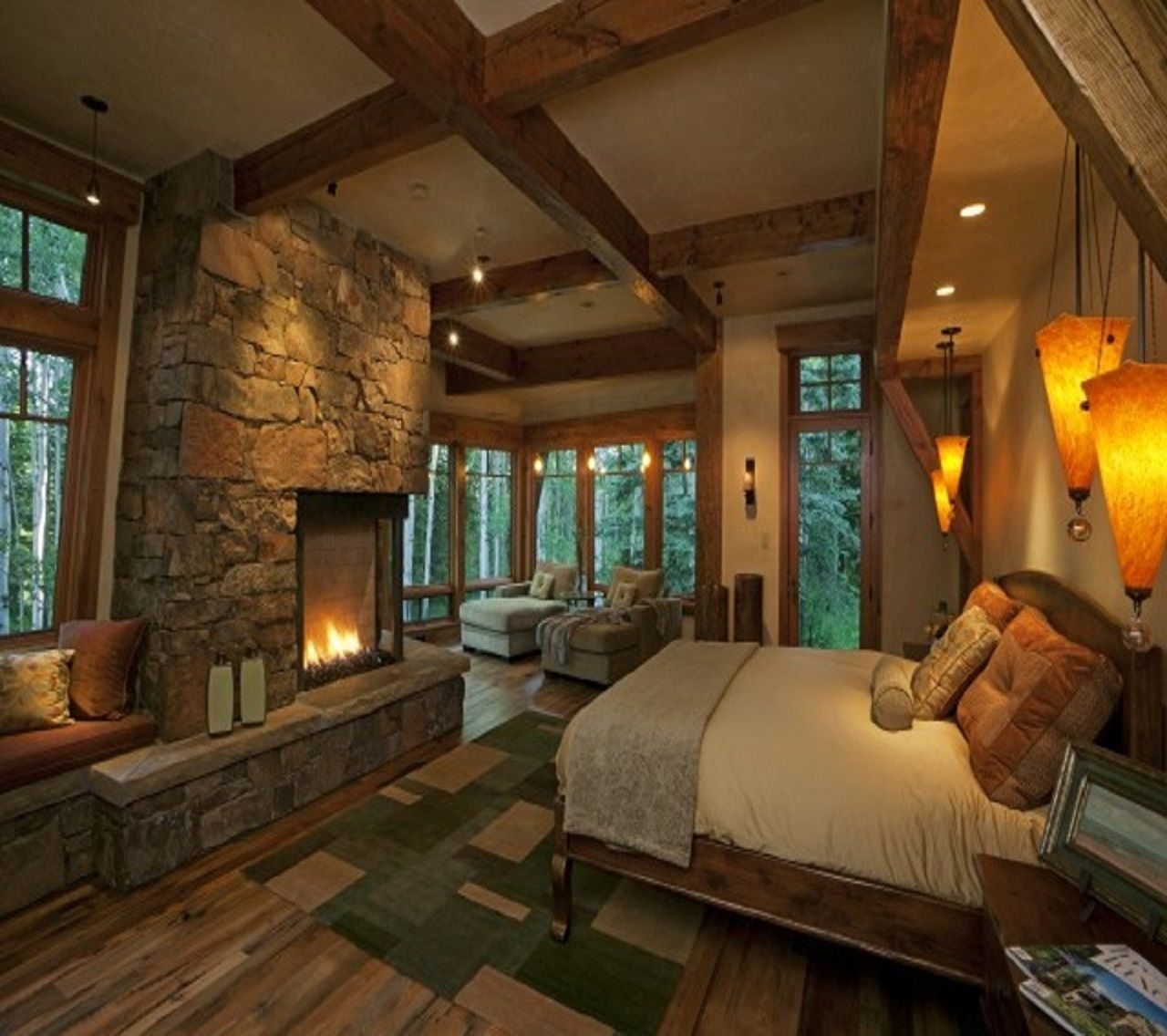 40 Rustic Living Room Ideas To Fashion Your Revamp Around: INT. LOGCABIN BEDROOM 1 MED #EpisodeInteractive #Episode
