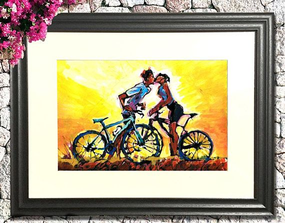 Kissing Cyclists Painting, Cycling Painting, Love Art, Love Painting ...