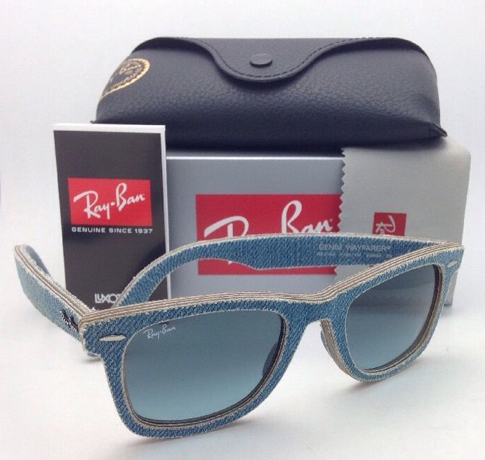 3016 w0366  RAY-BAN DENIM WAYFARER Sunglasses RB 2140 1164/4M Jeans Azure ...