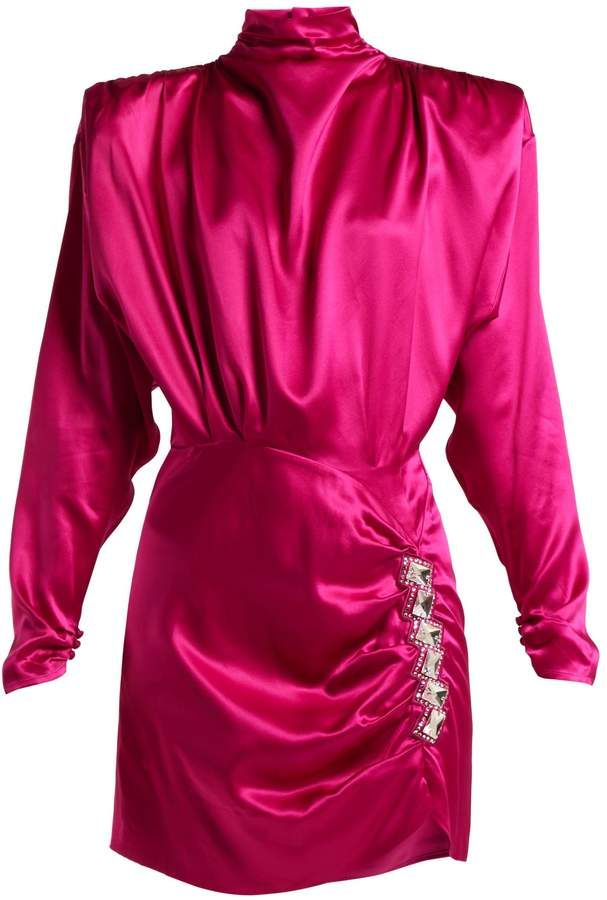 get online size 7 save up to 80% ALESSANDRA RICH Crystal-embellished silk-satin mini dress in ...